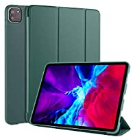 Alive Smart Cover for Apple iPad Pro 11 Inch (2020) Version, 3-folding Horizontal Flip PU Leather with Pen Holder (Pine Green)