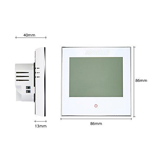 Anself Programmierbarer Raumthermostat Temperaturregler mit LCD Touchscreen Fußbodenheizung Wasserheizung - 5