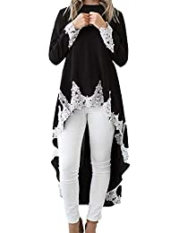 ODJOY-FAN-Donne Manica Lunga Tinta Unita Irregolare Pizzo Cucitura Vestito-Vestiti  Abbigliamento Online Vestiti… f8c2847cfdc