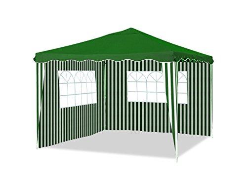 silvertree Faltpavillon Theo | 3 x 3 m | grün/weiß | Zwei abnehmbare Seitenwände mit Fenster | wetterbeständig | Polyester