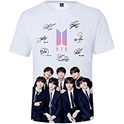 FLYCHEN Camiseta Bangtan Boys BTS 3D Impreso para Mujer Love Yourself Tear KPOP Women's Cool KPOP T-Shirt - Firma - M