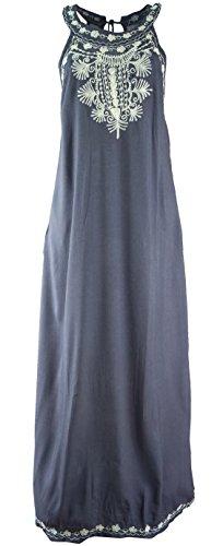 Guru-Shop Besticktes Boho Maxikleid, Indisches Hippie Kleid, Damen, Blaugrau, Synthetisch, Size:40, Lange & Midi Kleider Alternative Bekleidung