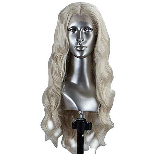 FELICIOO Frauen-Mädchen-weiße Lange Blonde lockige Königin-Haar-Halloween-Cosplay-Perücke (Farbe : Wie (Halloween Haar Farbe)