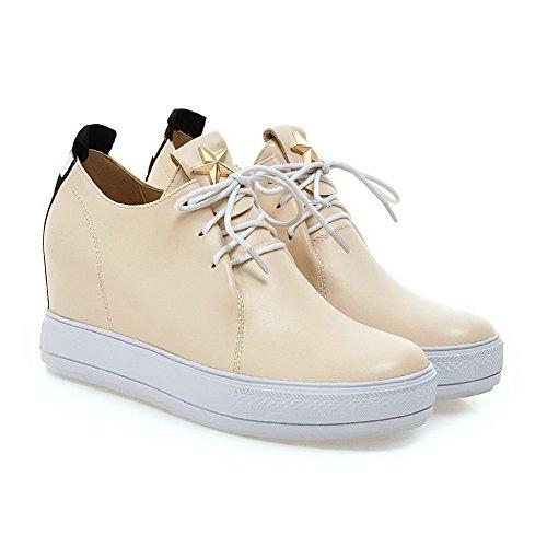 AllhqFashion Damen Weiches Material Schnüren Hoher Absatz Eingelegt Pumps Schuhe Cremefarben