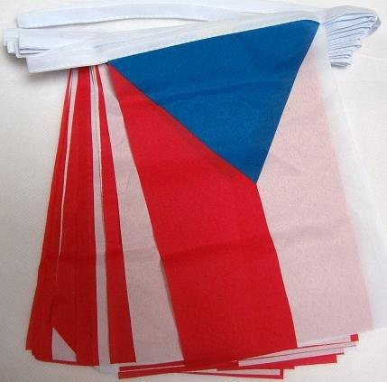CZECH REPUBLIC 6 meters BUNTING FLAG 20 flags 9'' x 6'' - CZECH STRING flags 15 x 21 cm - AZ FLAG