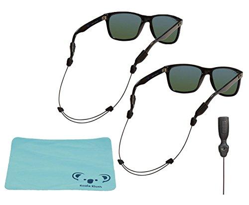 Hundespielzeug Orbiter verstellbar Eyewear Retainer Draht | Sonnenbrille, Schlüsselanhängerform, & Sicherheit Gläser Kabel | 2Stück Bundle + Reinigungstuch, schwarz