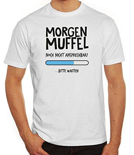 Langschläfer Herren T-Shirt mit Morgenmuffel Motiv von ShirtStreet Weiß