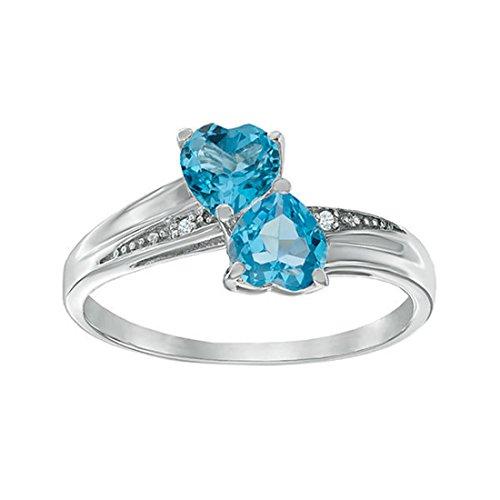 Silvernshine Jewels Womens Girls Sterling Silber für immer Doppel Herz AAA Topaz Versprechen Ring Sz 5-10 Topaz Herzen Versprechen Ring