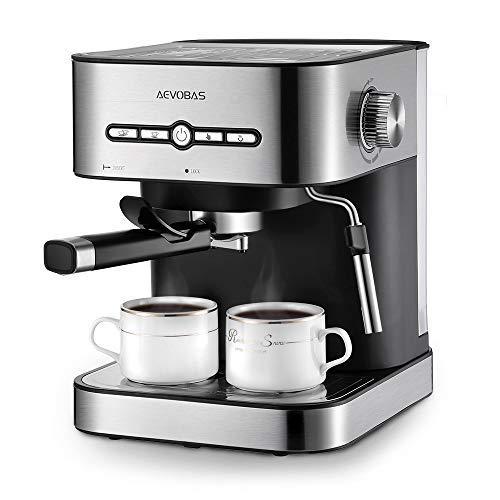 AEVOBAS Cafetière Expresso, Machines à Café Expresso 15 Bars, Machine à Expresso avec Mousseur à Lait pour Cappuccino et Latte, avec Fonction de Chauffage, 1500ml Amovible Réservoir D'eau