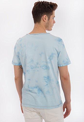 MEXX T-Shirt mit Batik Waschung und Print Herren Regular Fit Rundhals Kurzarm MX3020296 Blau