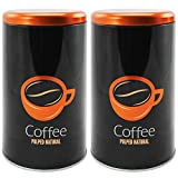 com-four® 2X Aufbewahrungs-Box für Kaffee und Kaffepads, schwarz/kupferfarbene Kaffee-Dose, 20 x 10,7 x 10,7 cm (02 Stück - Motiv 4)