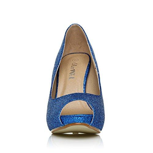 22e6b0a0223cdf ... Chaussures Décolleté Bleu Pailleté Tia Avec Talon Aiguille Très Haut  Ouvert Et Plateforme À Paillettes Bleues