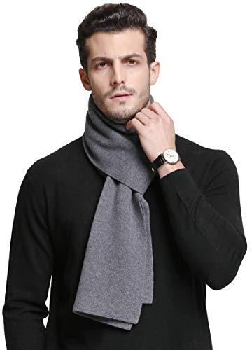 RIONA Herren 100% Australischen Merino-Wolle-Schal-Weiche Warme Krawatten Strick einheitsgröße 9001_light grau -