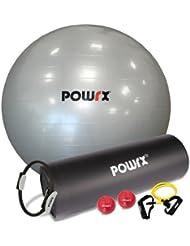 KIT DE YOGA (6 articles) : 1 tapis de gym + 1 ballon de gym + 1 anneau de résistance pilates + 1 extenseur + 2 balles lestées - QUALITÉ PROFESSIONNELLE