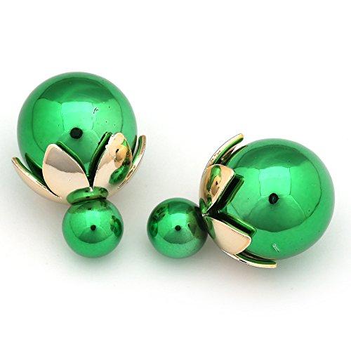 Idin Boucles d'oreilles double face–Double face Vert citron Feux-plaquent Résine Boule avec capuchon Gold-Tone Perle feuille Clous d'oreille (env. 8et 18mm)