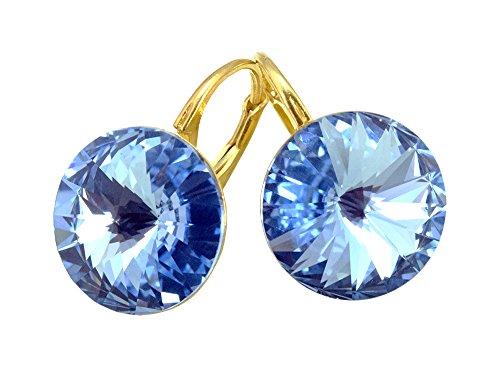 Crystals & Stones Vergoldet 24 K *Light Sapphire* *RIVOLI* 14 mm - Schön Ohrringe Damen Ohrhänger mit Kristallen von Swarovski Elements - Wunderbare Ohrringe mit Schmuckbox