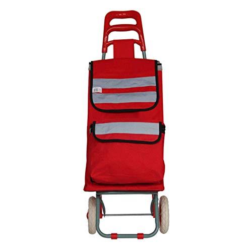A~LICE&C Trolley Pieghevole Portatile Multifunzionale del Carrello del Trolley del Carrello della Spesa Pieghevole,Red