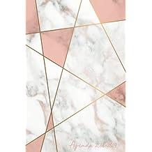 Agenda 2018-2019: Agenda Scolaire de Juillet 2018 à Août 2019, Semainier simple & graphique, motif abstrait marbre blanc et rose