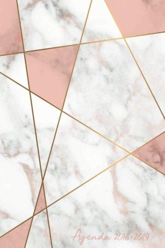 Agenda 2018-2019: Agenda Scolaire de Juillet 2018 à Août 2019, Semainier simple & graphique, motif abstrait marbre blanc et rose par YesOuiPages