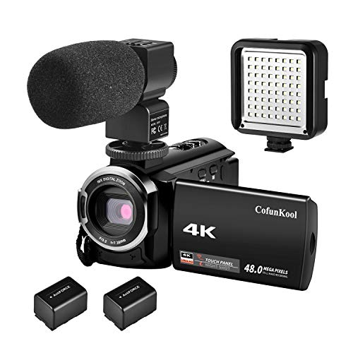 "CofunKool 4K Camcorder 270 Grad - Drerung Touchscreen Video Camcorder WIFI Digital Videokamera 3.0"" IPS LCD Kamcorder 30 Fps IR - Nachtsicht Kamera Camcorder mit Externem Mikrofon und LED Kamera Licht + 2 Batterien"