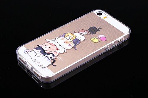 Coque iPhone 5, iPhone 5S Coque Silicone, SainCat Ultra Slim Silicone Case Cover pour iPhone 5/5S/SE, Ultra Slim Transparente Antichoc Soft Gel TPU Cover Coque Caoutchouc Transparent Silicone Case, Co Duo de Chat #