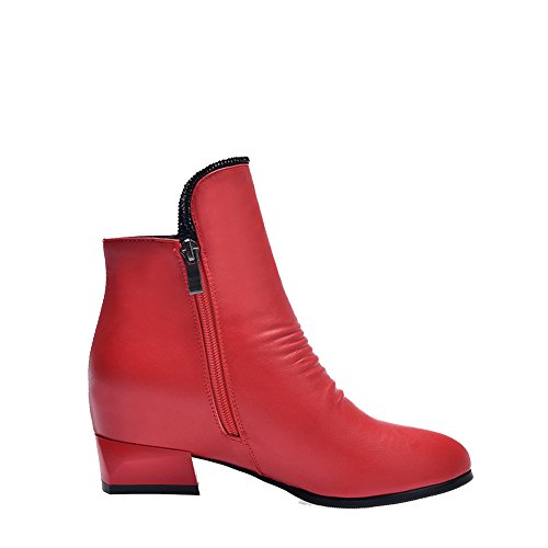 AllhqFashion Damen Niedrig-Spitze Reißverschluss Weiches Material Spitz Zehe Stiefel, Rot, 37