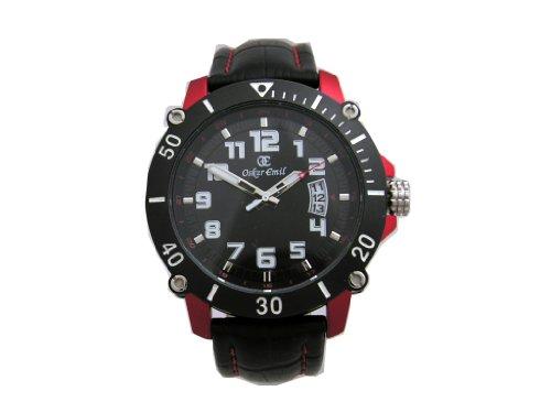 Oskar Emil manil - Reloj para hombres, correa de cuero color negro