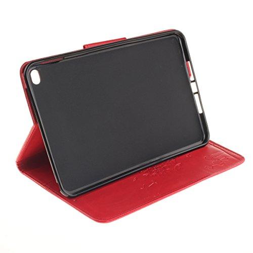 Coque Apple iPad Mini 4 à Rabat avec Support,iPad Mini 4 Étui Housse,Ekakashop Jolie Motif Couple de Pissenlit Rose Rouge PU Cuir Protecteur Shell Tablette Couverture Filp Case Stand Coque Fermeture M Rouge