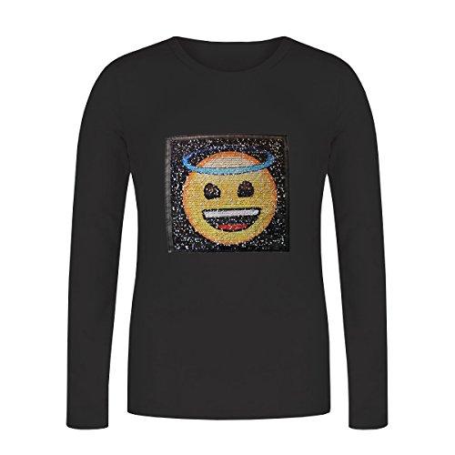 Pailletten, Gefühle, Engel, Teufel, Top für Mädchen, Lange Ärmel T-shirt (12 Jahre, Schwarz)