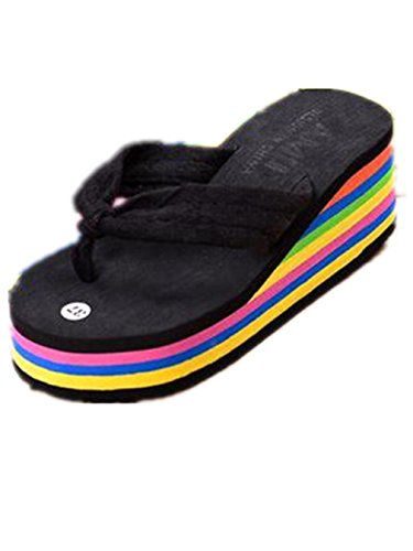 Mulheres Boowhol Flip-flops Toe Trenner Banho Confortável Sapatos Com Saltos De Verão Cunha Pretas