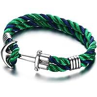 Vnox Donna Uomo Acciaio corda di nylon Wristband doppi strati nautico Anchor Bracciale Blu Verde,21 centimetri