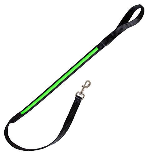 """Correa de perro LED cuerda ligera correa """"Zandoo"""" en neón color verde de la marca PRECORN"""