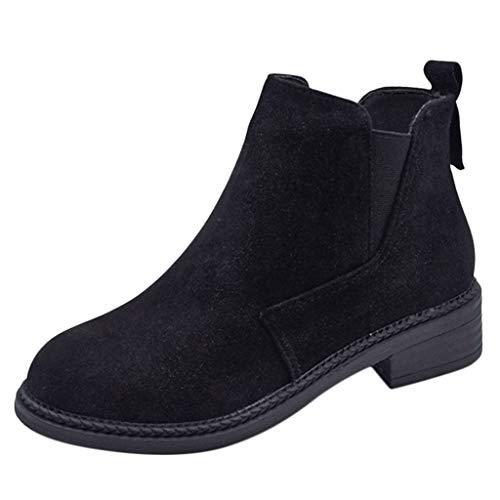 Yvelands Damen Mode Nähen Flock Kurze Dicke Ferse Stiefeletten Außerhalb Runde Schuhe(Schwarz,38.5 EU)