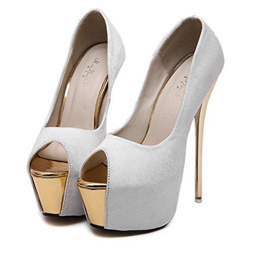 YE Damen Extreme High Heels Plateau Stiletto Pumps mit 16cm Absatz Party Schuhe Weiß