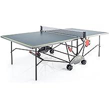 Kettler Tischtennisplatte AXOS Outdoor 3 – rollbarer TT-Tisch für Draußen inkl. Ball- und Schlägerhalterung – wetterfeste Alu-Light-Verbundplatte – Tischtennistisch für Den Garten – Grau/Gelb