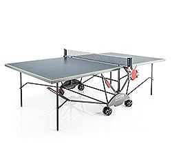 Kettler Tischtennisplatte AXOS Outdoor 3 - rollbarer TT-Tisch für draußen inkl. Ball- und Schlägerhalterung - wetterfeste Alu-Light-Verbundplatte - Tischtennistisch für den Garten - grau/gelb