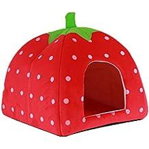 Homiki Casa cama para animal doméstico, de taco suave y con diseño de fresa (