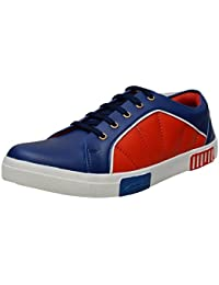 Divs Men's Blue With Red Canvas Sneaker
