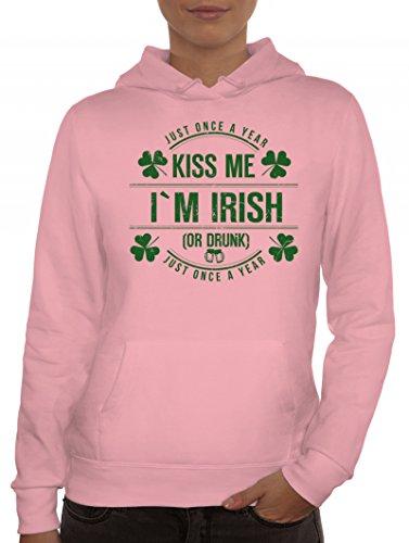 Day Partner Gruppen Damen Kapuzenpullover Kiss Me I'm Irish, Größe: M,rosa (Rosa Damen Kostüme Irland)