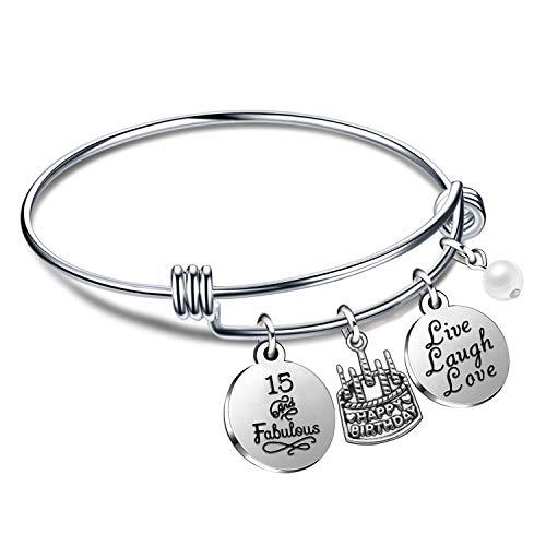 Regali di compleanno per lei braccialetti con braccialetti per donna ragazza dal vivo ridi dal 10 ° al 70 ° (15° compleanno)