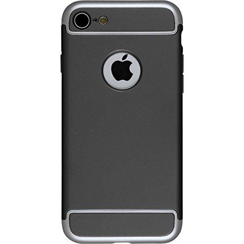 PhoneNatic Case für Apple iPhone 7 Hülle silber snap-in Hard-case für iPhone 7 + 2 Schutzfolien Schwarz