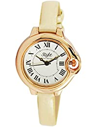 Style Feathers Analogue Beige Dial Womens Watch-Sfctrdc001