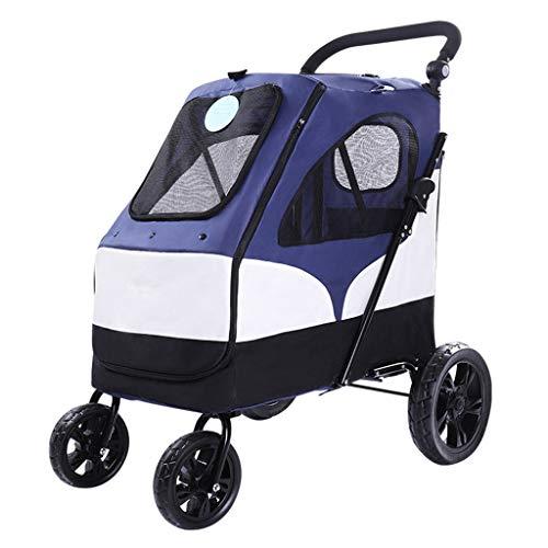 Hundewagen Haustier Reha-Fahrzeug for Haustiere Wagen for Hunde Mit Assistierten Verletzungen Tragfähigkeit 55 Kg (Color : Blue, Size : 65 * 87 * 110cm)