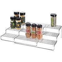 Gris Oscuro y Negro Mueble especiero de pl/ástico sin BPA con estantes desplegables mDesign Organizador de Especias con 3 Niveles Organizador de armarios de Cocina Compacto para condimentos