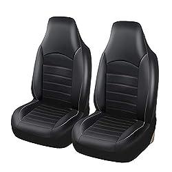 CARWORD PU Leder Universal Autositzbezüge Autozubehör Interieur 100% atmungsaktiv Airbag Kompatibel für die meisten Auto, SUV, Van,Grau