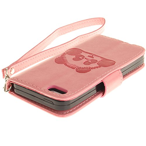 Für iPhone SE/Für iPhone 5/5S Gurt Strap Magnetverschluß Ledertasche Hülle,Für iPhone SE/Für iPhone 5/5S Premium Seil Leder Wallet Tasche Brieftasche Schutzhülle,Funyye Stilvoll Jahrgang [Niedlicher r Panda,Rosa