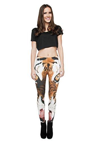 Leggings für Damen/Mädchen, mit 3D-Grafik, elastisch Orange - Tiger