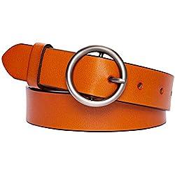 Maylisacc Cinturon Piel Mujer con hebilla de anillo tórico, cinturón marrón estilo vintage para mujer para pantalones, vestidos, jeans y pantalones