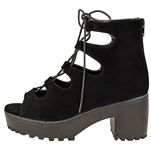 Damen Frauen Klobig Mittelhoch Plateau Schnürsenkel Ausgeschnitten Eingesperrt Sandalen Stiefel Größe Schwarz Kunstwildleder