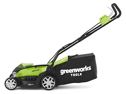 Greenworks Cordless Lawn Mower 40V Lawnmower with 2x 2Ah Battery and Charger -  Cutting Width 35cm, 40L Grass Box - 2501907UC